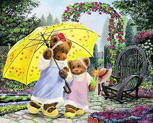 "YUNLINZI Paint By Numbers Diy Acrylic Painting Kit For Kids & Adults Beginner – ""16 X 20 Inch"" -Garden After The Rain, Bear Playing With 3 Brushes & Bright Colors Hand Painted Paint Gift"