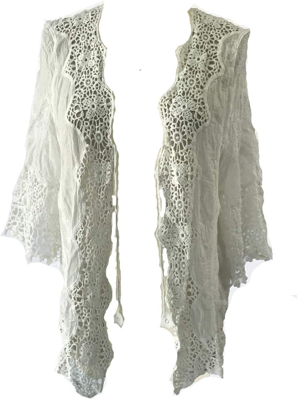 Blend 4 Thee Women Retro Crochet Swimwear Cover up Sleeve Cardigan