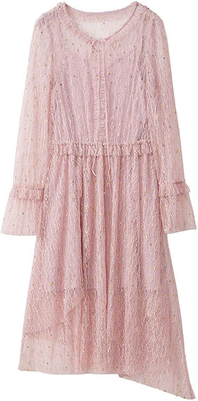 Spring Women's Dress  Temperament Lady Sweet Pink Waist Lace Long Sleeve Dress