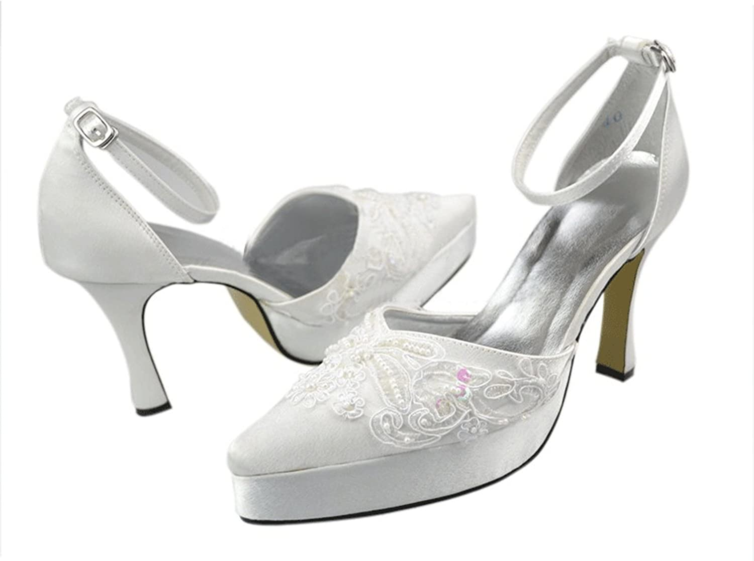 Kevin Fashion MZ1229 Women's Ankle Strap Satin Bridal Wedding Formal Party Evening Prom Sandals