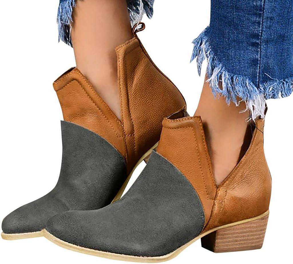 NLOMOCT Boots for Women Super-cheap Ankle Heel Colorblock Booties Platfo Low Popular overseas