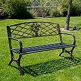 """Belleze 50"""" Patio Garden Bench Park Outdoor Yard Furniture Porch Chair Seat Steel Frame, Bronze/White"""