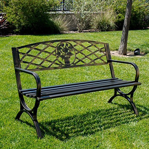 "BELLEZE 50"" Patio Garden Bench Park Yard Outdoor Furniture Porch Chair Seat Steel Frame, Bronze"