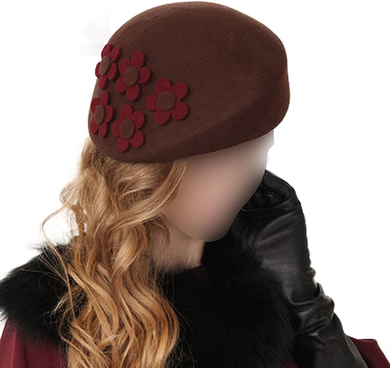 Chad Hope Winter Black Brown 100% Australia Wool French Beret Hats Fedora Vintage Flower Women Felt Ladies Party Hats