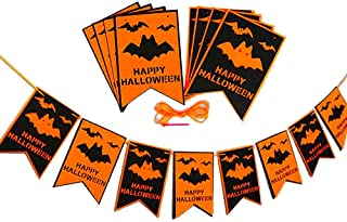 Happy Halloween Banner with Pumpkin Witch Bat Sign Bunting Halloween Decoration, Outdoor Indoor Halloween Party Decoration Supplies