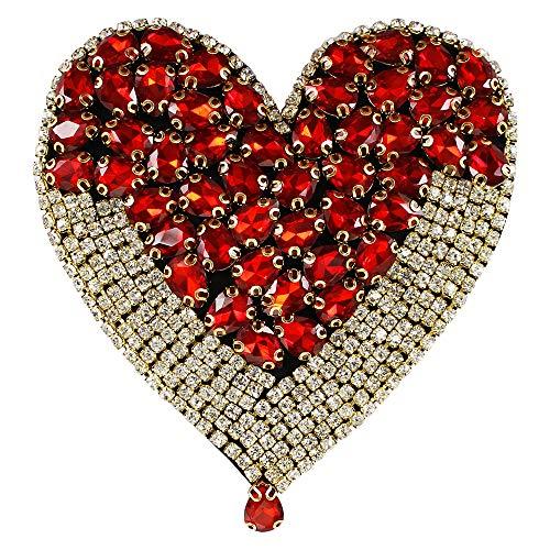EMDOMO - Toppe con strass a forma di cuore, misura grande, per vestiti, giacca, retro, 1 pezzo