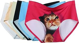 BOBORA 無縫製 ショーツ レディース セット 猫プリント シームレス 見せパン 丈普通 響きにくい レギュラーショーツ 3D猫パンツ ランジェリー ブリーフ 【6枚セット】
