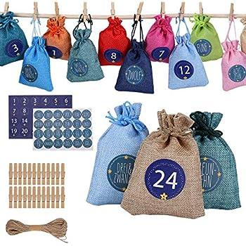 cloth bag Sachets en Tissu,DIY Sachets en Jute pour Calendrier de lAvent /à Remplir,calendrier de No/ël,Calendrier de lAvent,Sachets en Tissu /à Remplir 24Calendrier de lAvent /à remplir