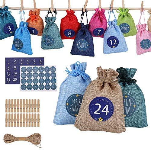 Ulikey 24 Calendario de Adviento, Calendario Familiar de Adviento, 1-24 Adhesivos Digitales de Adviento, Bolsa de Regalo Navidad Decoración Navideña