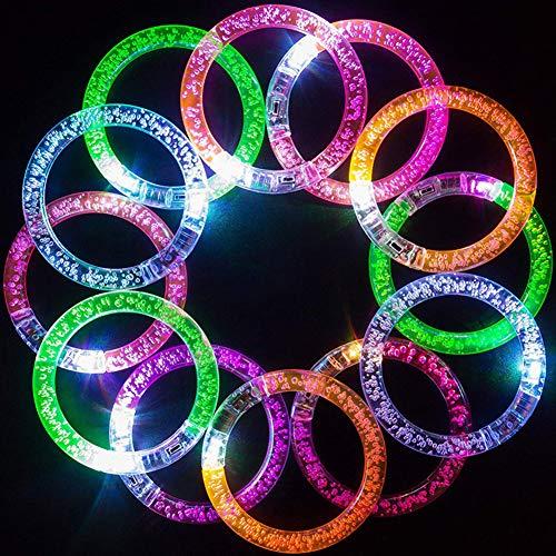 KingbeefLIU 6 Stücke LED Leuchten Armband Party Konzert Blinkende Glow Blase Armreif Armband Glitzernde Pendelleuchte Urlaub Licht Ornamente Zufällige Farbe