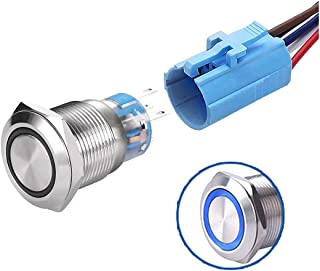 WerFamily Angel Eye Ring 12V Blue LED 19mm Latching Push Button Switch 1NO 1NC SPDT ON/Off Waterproof Stainless Steel Meta...