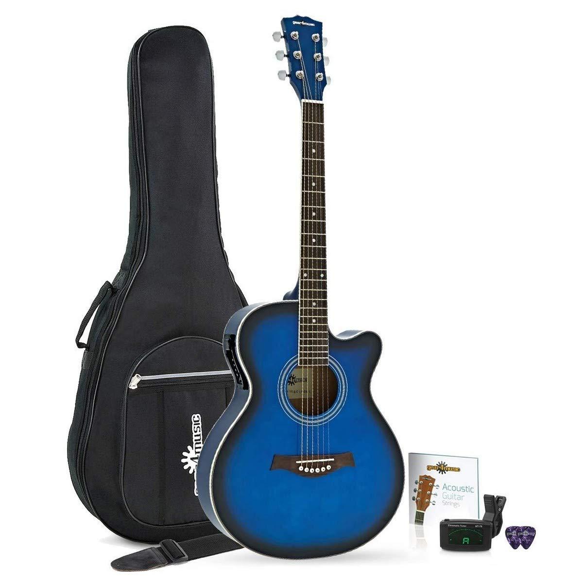 Guitarra electroacústica Gear4music, color negro, cómodo, gran ...