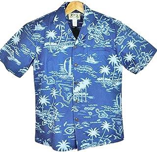 アロハシャツ メンズ ハワイ製 ゴロワーズブルー/ハワイ諸島/アロハタワー柄/ポリ・コットン KY'S