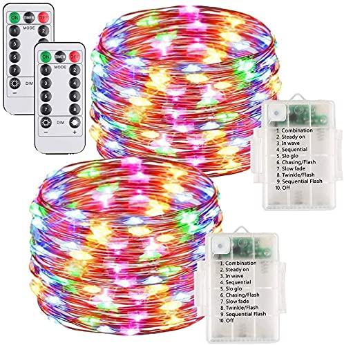 MONTA 2 Unidades 10 M Jardín Decoración 100 Led Impermeable Cobre Cadena Luz Control Remoto Batería Garland Luces de hadas para Navidad Año Nuevo Decoración
