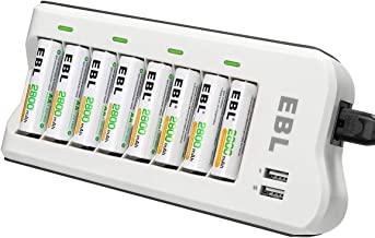 EBL 8PCS Piles Rechargeables AA 2800mAh+ Chargeur de Piles 8 Slots, avec 2 USB Ports pour Accus AA/AAA/Ni-MH et Smartphone Tablette Rechargeable Rapide