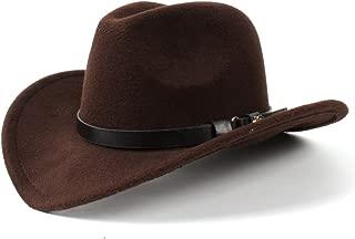 SGJFZD Women Men Sombrero Caps Western Cowboy Hat Lady Felt Cowgirl (Color : Coffee, Size : 56-58CM)