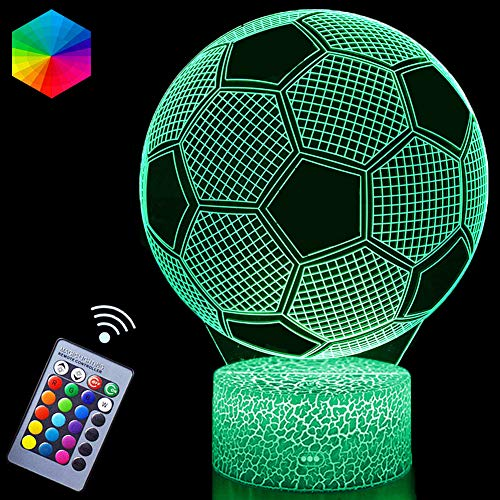 3D Soccer Night Lights Illusion LED Lamps Remote Controller USB Powered RGB Colors Changeable Gifts for Boys Football Lovers for Birthdday Christmas(Soccer)
