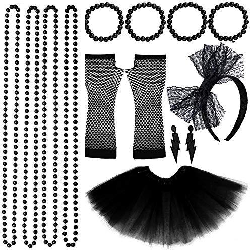 VSTON 80s Jahre Kostüme für Frauen Mädchen Erwachsene, 80er Jahre Frauen Kleider Partyzubehör Neon mit Tutu Röcke 80s Partykostüm Set