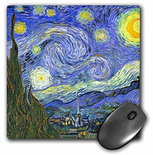 3dRose la noche estrellada por Vincent van Gogh 1889–famosa Fine Art–Cojín de mouse, 8por 8inches (mp 155638_ 1)