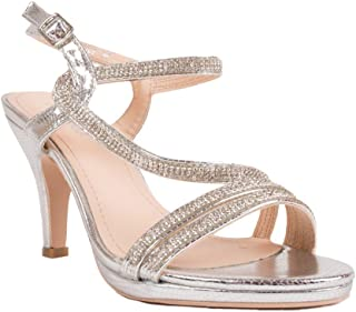 a31afa9f952d Primtex Chaussures Mariage Femme Strass & Fines lanières croisées Petit  Talon-