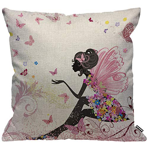 HGOD DESIGNS Butterfly Girl Cushion Cover,Pink Wing Elves and Butterflies Throw Pillow Case Home Decorative for Men/Women Living Room Bedroom Sofa Chair 18X18 Inch Pillowcase 45X45cm