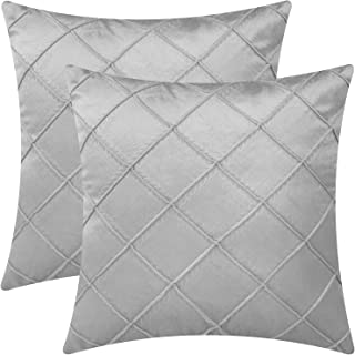 Gemto Pack of 2 Velvet Throw Pillow Covers, 18 x 18 Inch Soft Breathable Decorative Throw Pillowcase Lattice Cushion Cover...