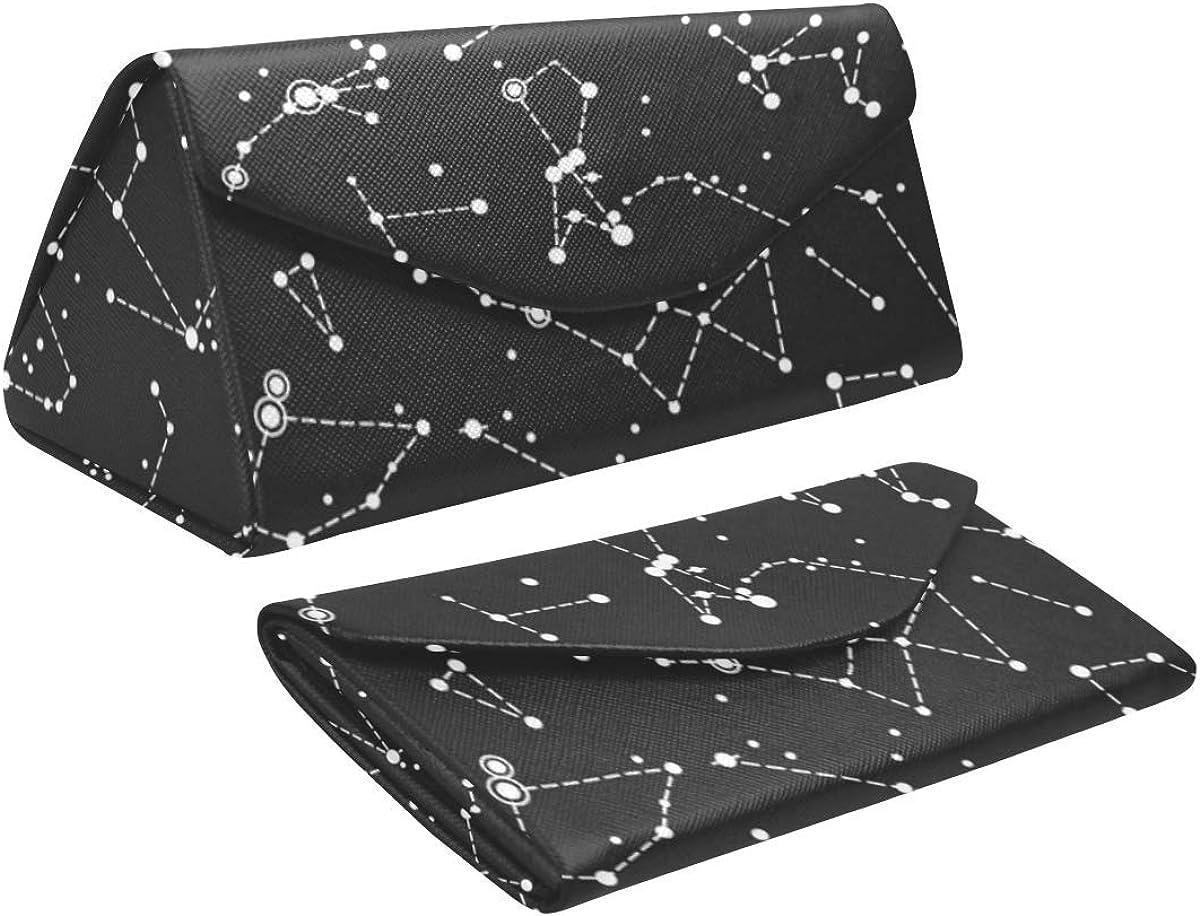 Glasses Case Constellations Eyeglass Case Leather Magnetic Folding Hard Case Sunglasses Eyewear Protective Case