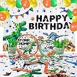 Decoración de Fiesta de Cumpleaños Dinosaurios - Suministros para Fiestas de Dinosaurios para Niños Fondo de Cumpleaños Globos Platos Tazas Servilletas Manteles Cubiertos Bolsas 16 Invitados 152 PCS