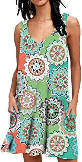 AUSELILY Women's Summer Casual Sleeveless Floral Printed Swing Dress Sundress with Pockets