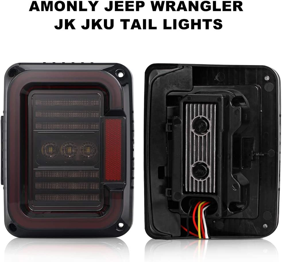 LED Tail Light Compatible with Jeep Wrangler JK JKU 2007-2017 with DRL Reverse Light and Brake Light DOT Compliant Double Re-breather and Multi-Transmissive Lens