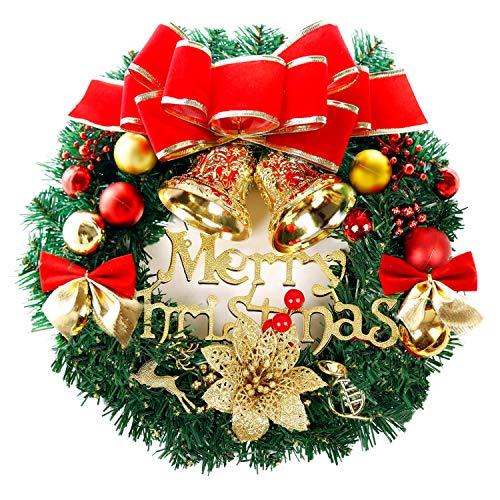 bainuote Couronne de Noël avec boules de Noël - 35 cm - Fait à la main