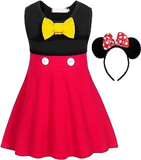 HenzWorld Girls Dress Polka Dot Costume Birthday Party Halloween Outfit Tutu Skirt Ear Headband Red