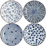 Swuut Ceramic Pasta Bowls Set,Blue and White 8 inch Salad Bowl Floral Dinner Shallow Plates Set of 4, Serving Bread Appetizer Dessert Snack (8 Inch)