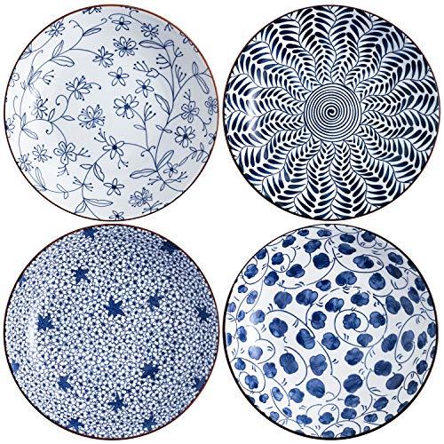 Swuut, set di piatti da insalata in ceramica, blu e bianco, 20,3 cm, piatti da portata floreali, piatti poco profondi, set di 4, per servire pane antipasto dessert (20,3 cm)