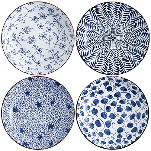 Swuut Ceramic Salad Plate Set,Blue and White 8 inch Serving Plates Floral Dinner Shallow Plates Set of 4, Serving Bread Appetizer Dessert Snack (8 Inch)