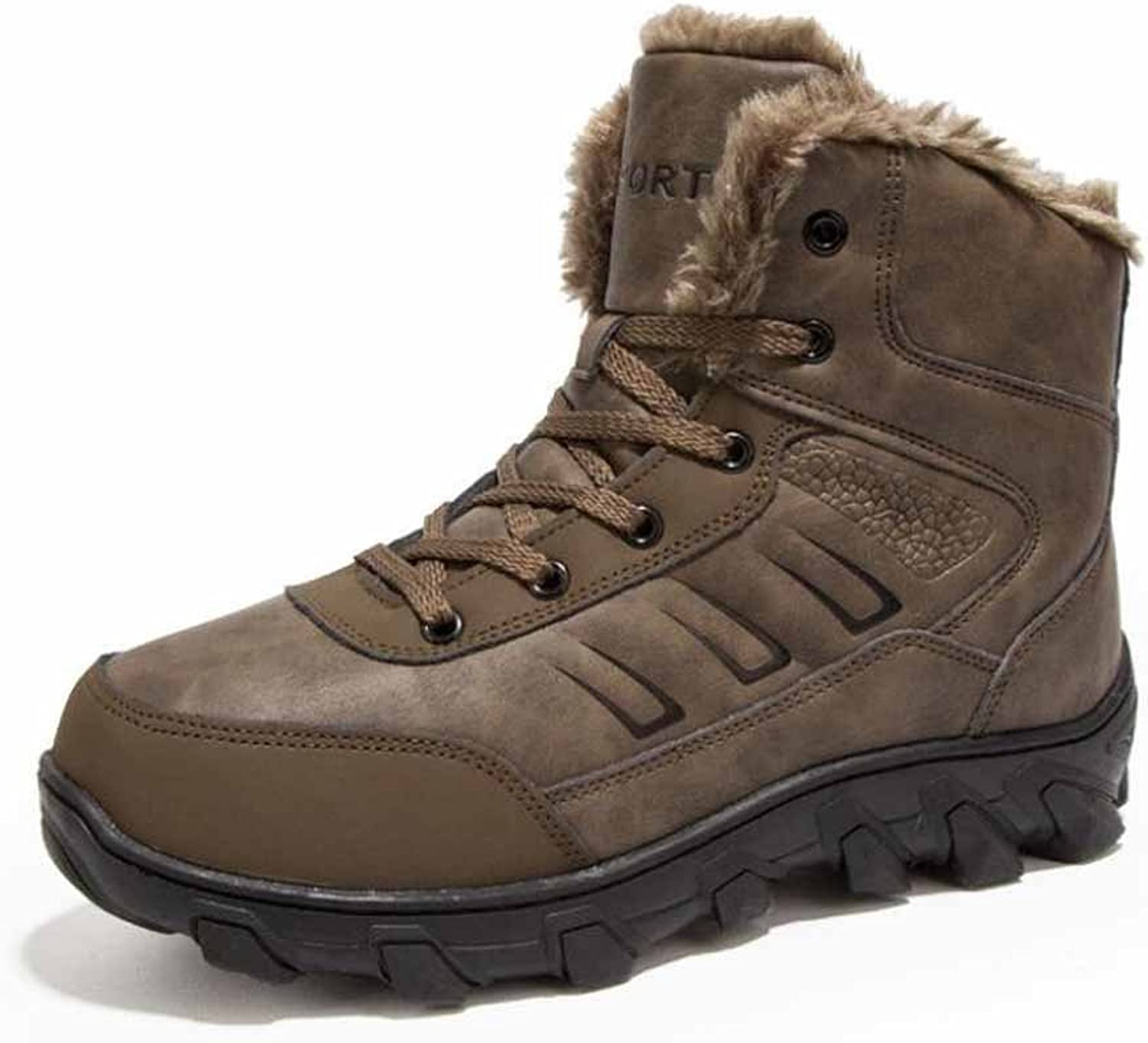 Men Snow Boots 2017 Winter Warm Fur Lined Outdoor Sports High-top Cotton Hiking Boots Large Size