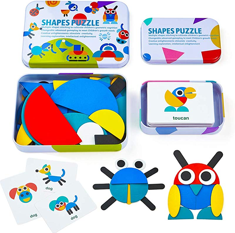 LiKee Wooden Pattern Blocks Animals Jigsaw Puzzle Sorting And Stacking Games Montessori Educational Toys For Toddlers Kids Boys Girls Age 3 Years Old 36 Shape Pieces 60 Design Cards In Iron Box