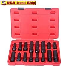 Youen Spline Socket Set, Impact Hex Socket Set, 16 Piece Locking Lug Nut Master Set, Wheel Lock Key Removal Thin Wall Tool Kit. Double-hex Heads and Extra Long Design (16 Piece)