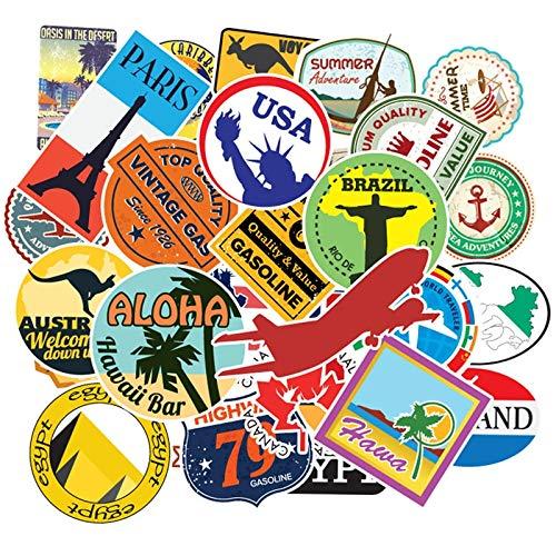 YOUYOU Set Reisekarte Landkarte berühmtes Logo PVC wasserdichte Aufkleber Kinder Spielzeug Dekor Koffer Fahrrad Auto Gitarre Skateboard F5 100 Stück