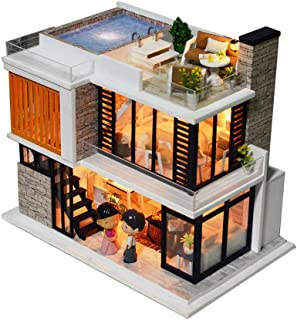DIY Wooden Miniature Dollhouse Kit with Doll & Music, Mini House Woodcraft Construction Kit-3D Wooden Puzzle-Model Building Set DIY Cabin Wooden Villa Gift for Christmas Holiday Birthday