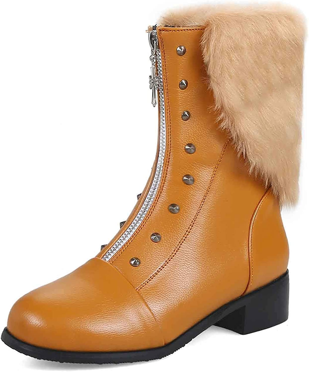 Unm Women's Studded Short Boots with Zipper - Faux Fur Outdoor Round Toe - Chunky Low Heel Ankle Booties