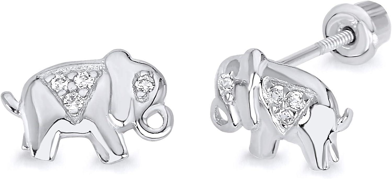 Wellingsale 14K White Gold Polished Elephant Stud Earrings With Screw Back