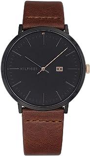 Tommy Hilfiger Men's James Brown Leather Band Steel Case Quartz Black Dial Analog Watch 1791461