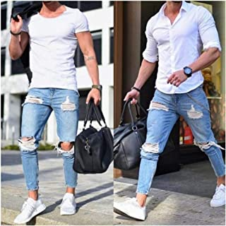Fashion Men's Ripped Denim Jeans Washed Slim Fit Skinny Jeans Pants Streetwear Pencil Pants for Male