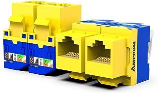 10-Pack CAT6 Tool Less Keystone Jack,AMPCOM RJ45 Self-Locking Cat.6 Keystone Module Adapter No Punch-Down Tool Required Co...