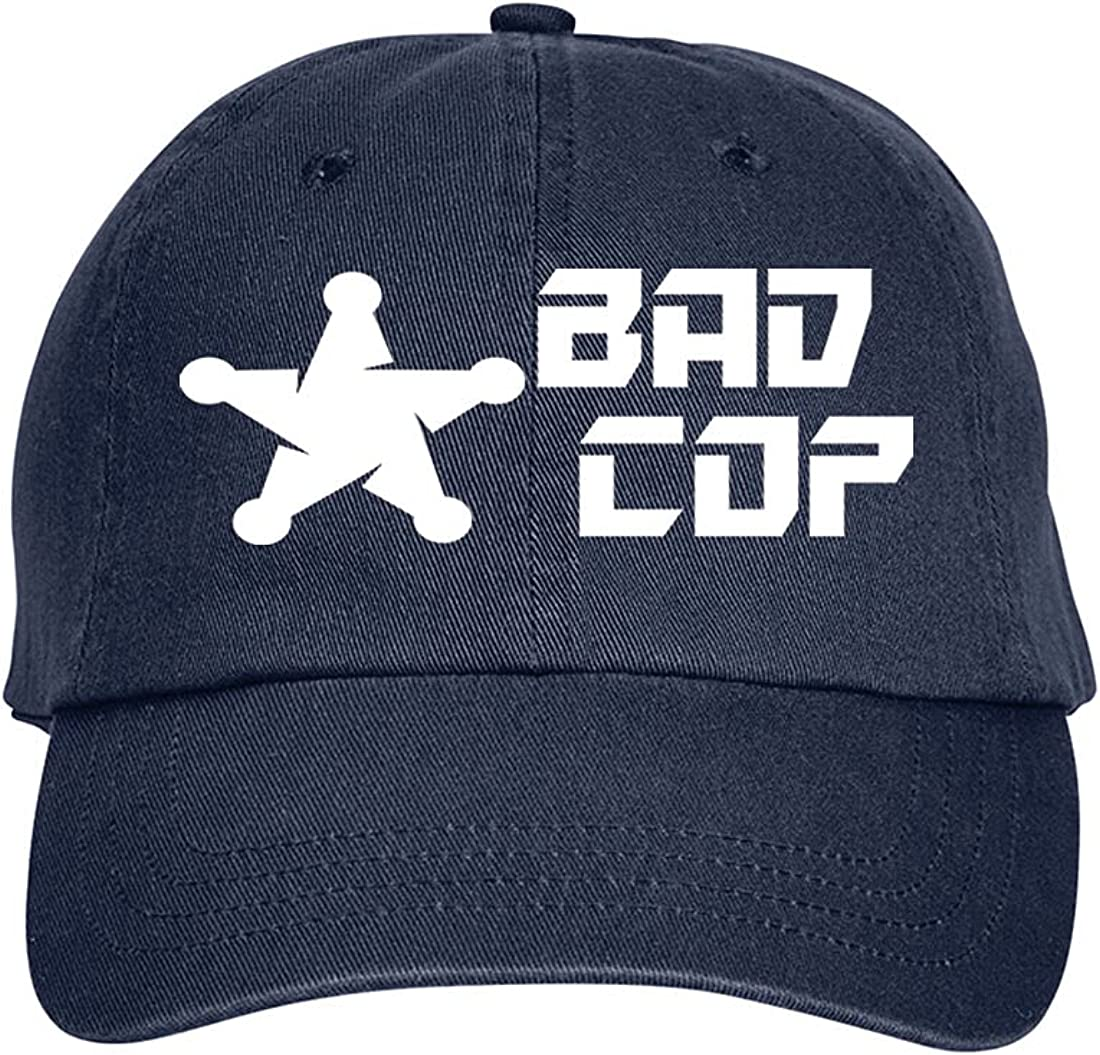 Press Fans - Bad COP Hat Baseball Cap Distressed Classic Polo Style Adjustable, e88 Navy Blue
