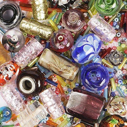 Lampwork Perle en verre Mix: 75grammes Assortis dans différentes tailles, formes et couleurs: pour la confection de bijoux et pour le bricolage et les travaux manuels