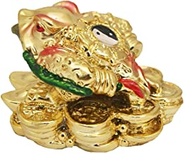Odishabazaar Feng Shui Ing Yang Money Frog (Three Legged Toad) Hold coin on a Pile of Money for Wealth Luck