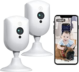 Baby Monitor, Pet Camera with Sound/Motion Detect 1080p Night Vision 2 Way Audio Video Record, Plug-in 2.4GHz WiFi Indoor Camera Works with Alexa for Home Surveillance/Baby's Security/Pet Monitoring