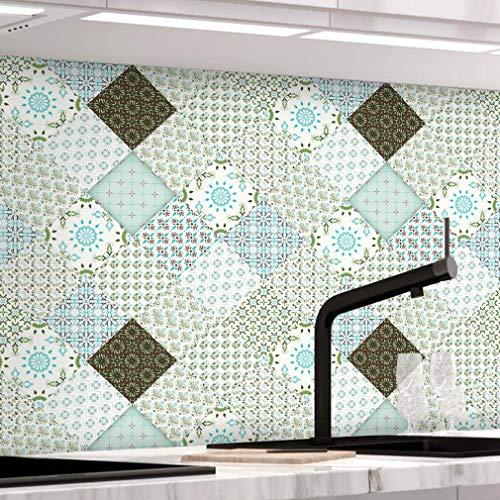 KINLO Fliesenaufkleber selbstklebende Fliesenfolie für Bad und Küche, PVC 61 x 500cm Mosaikfliesen Dekorfolie Fliesen Aufkleber Wandaufkleber Fliesen Aufkleber Deko-Fliesenfolie Fliesen-Folie Typ-E
